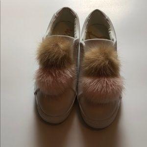 Sam Edelman white faux fur pompom sneakers